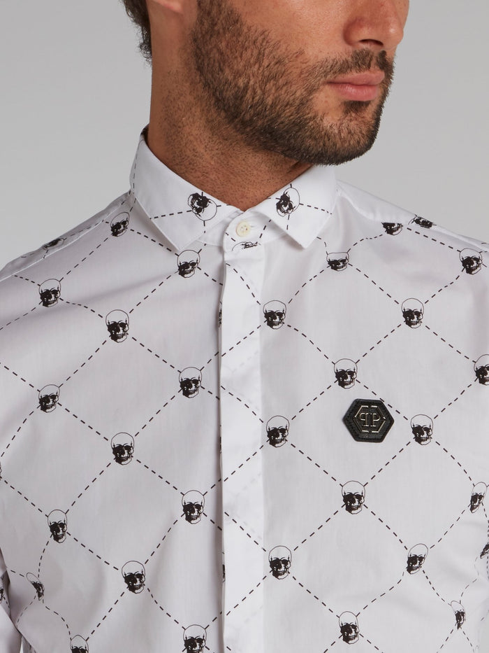 White Skull Print Long Sleeve Shirt