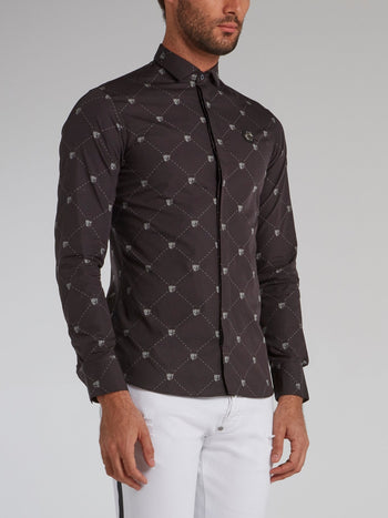 Black Skull Print Long Sleeve Shirt