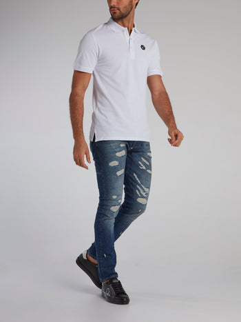 White Rear Studded Skull Polo Shirt