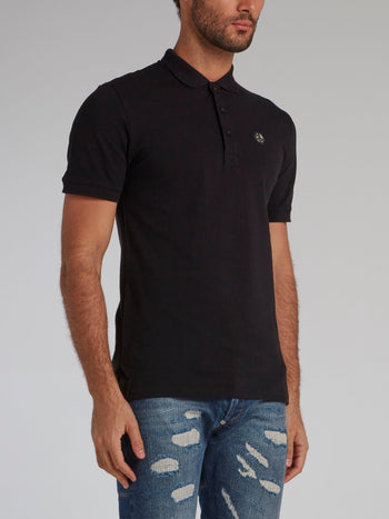 Black Rear Studded Skull Polo Shirt