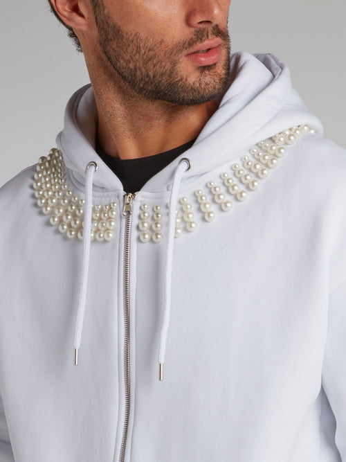 White Pearl Embellished Statement Hoodie