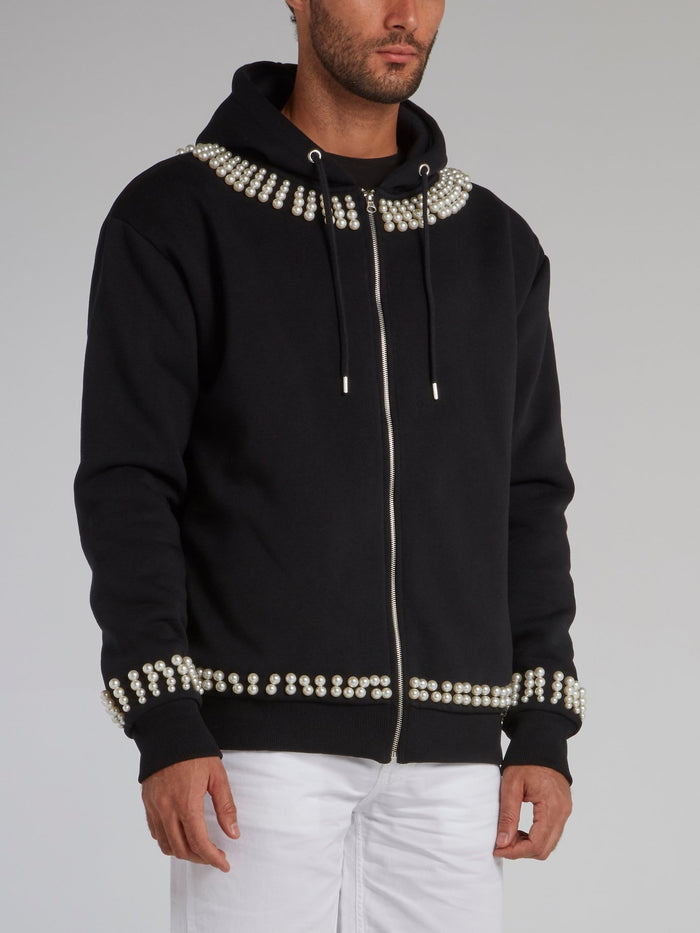 Black Pearl Embellished Statement Hoodie