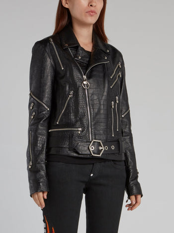 Black Crocodile Effect Leather Biker Jacket