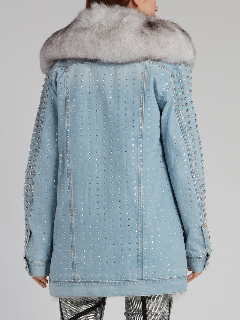 Fur Hood Studded Denim Jacket