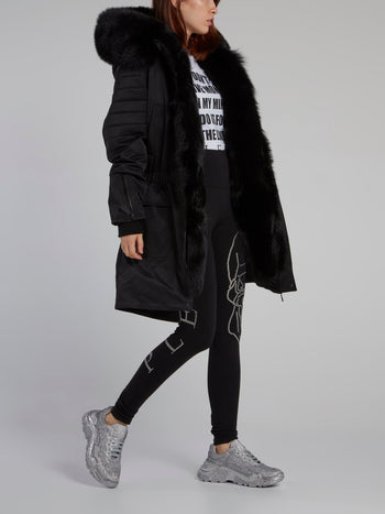 Black Quilt Sleeve Parka