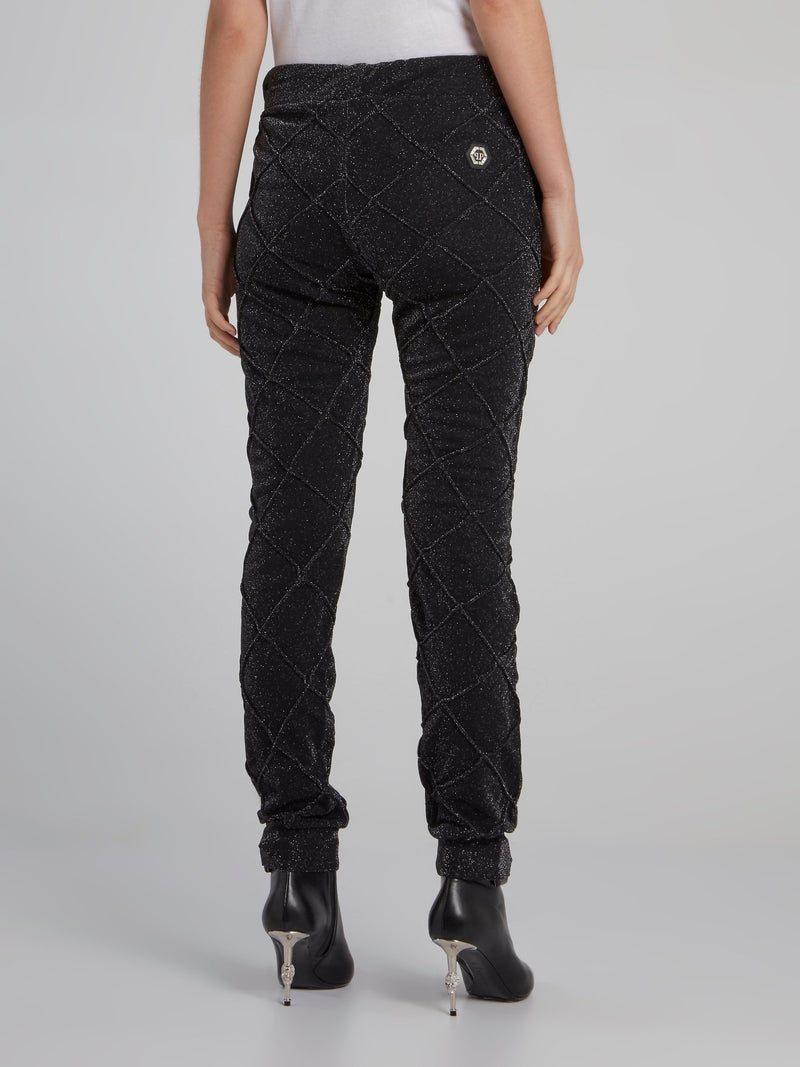 Black Lurex Drawstring Jogging Trousers