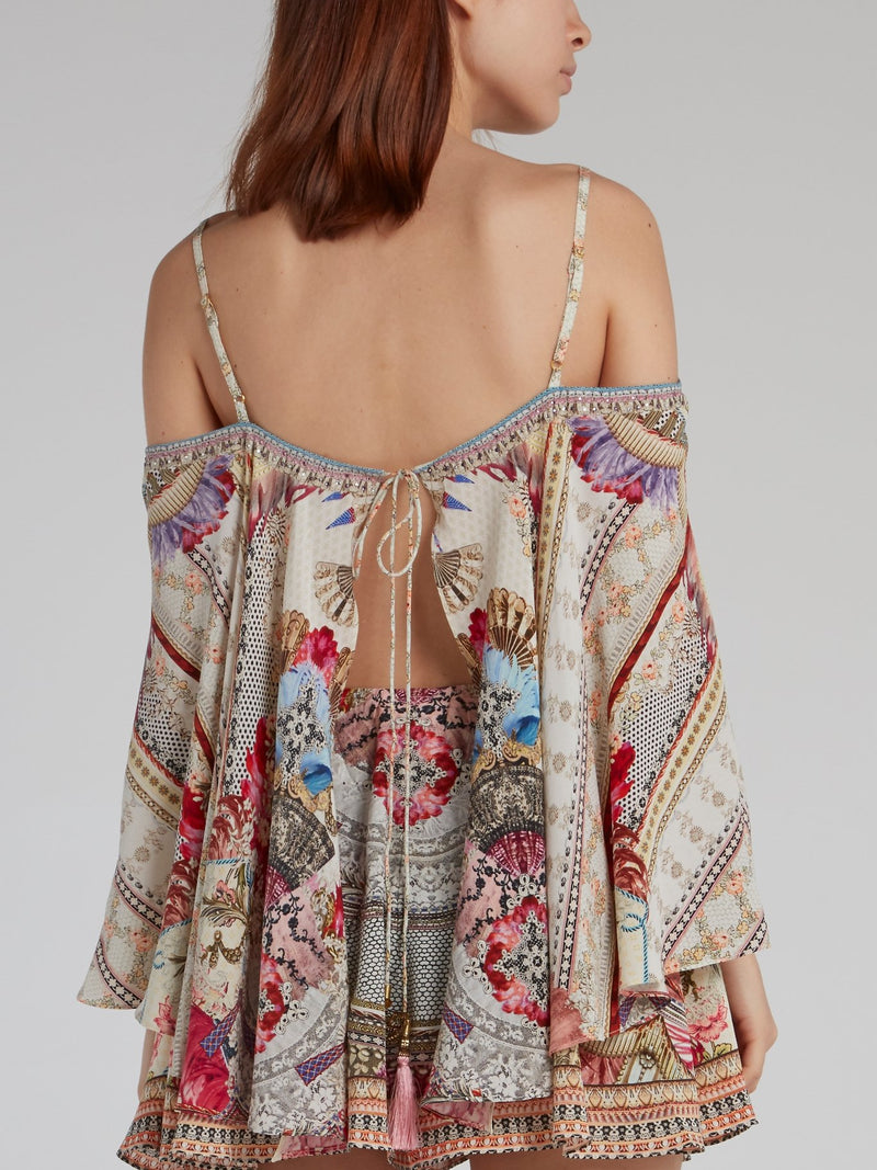 Drop Shoulder Flared Overlay Silk Playsuit