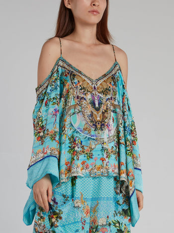 Butterfly Sleeve Drop Shoulder Silk Top