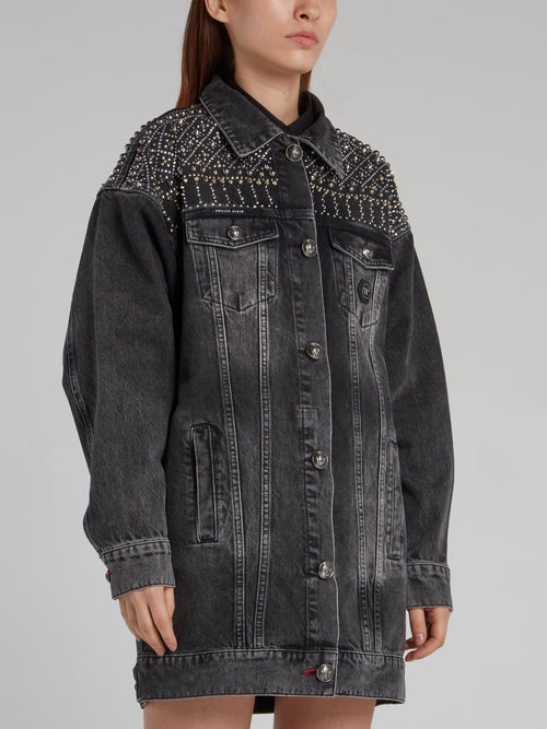 Gothic Plein Black Oversized Denim Jacket