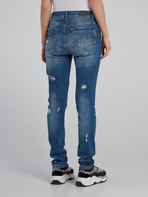 Blue Tattered Slim Fit Jeans