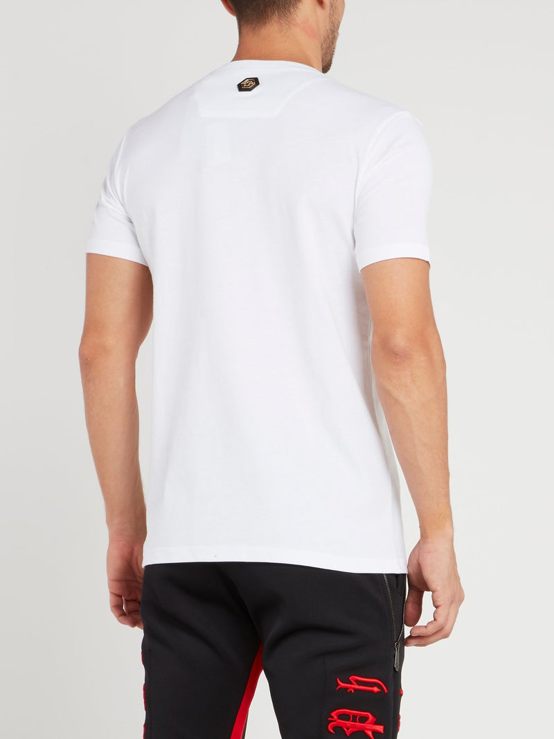 White Embroidered Crewneck T-Shirt