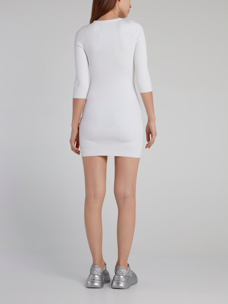 White Crystal Monogram Knit Dress