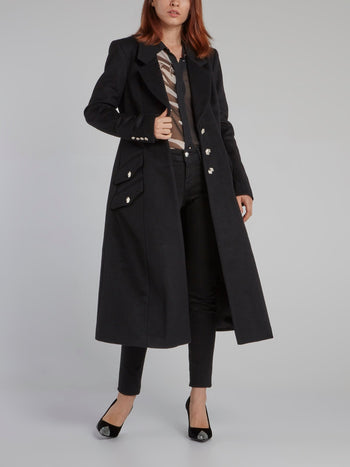 Black Long Reefer Coat