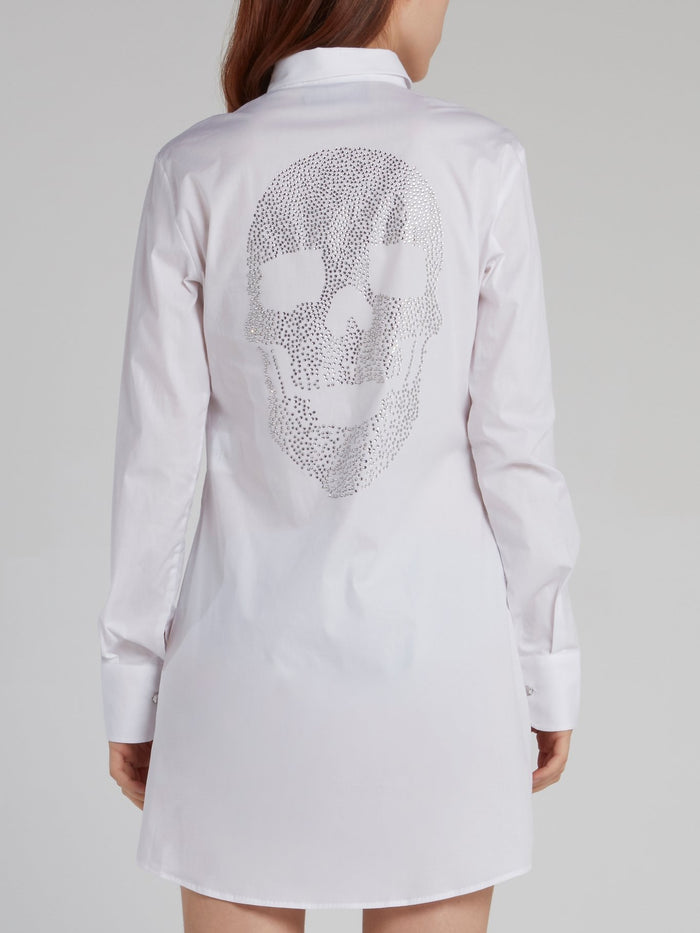 White Studded Skull Shirt Dress