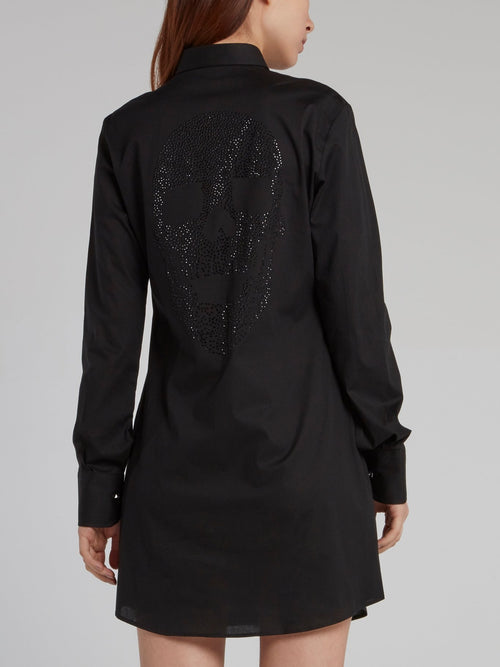 Black Studded Skull Shirt Dress
