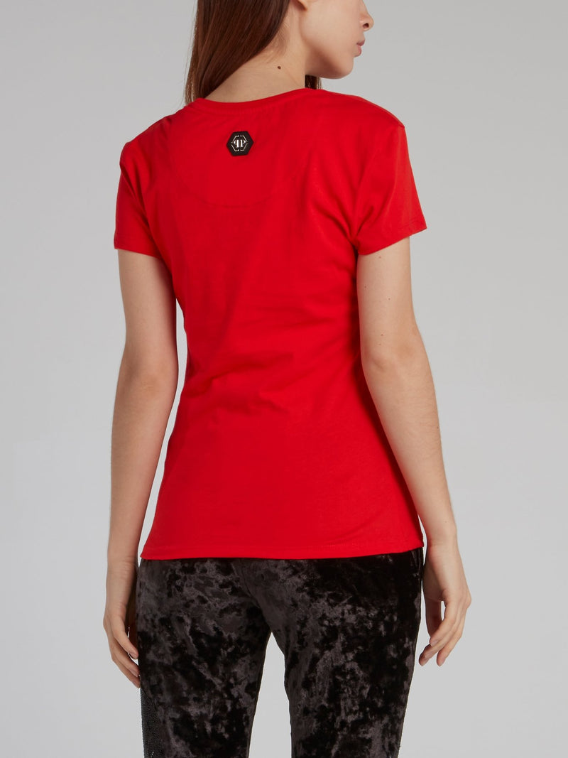 Red Statement Fitted T-Shirt