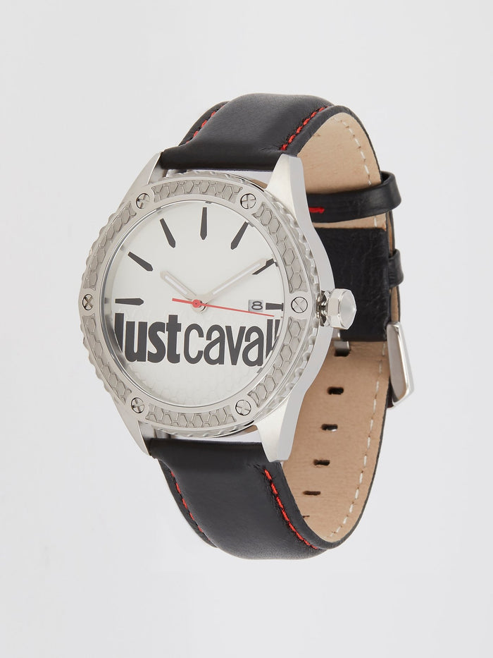Audace Black Leather Band Watch