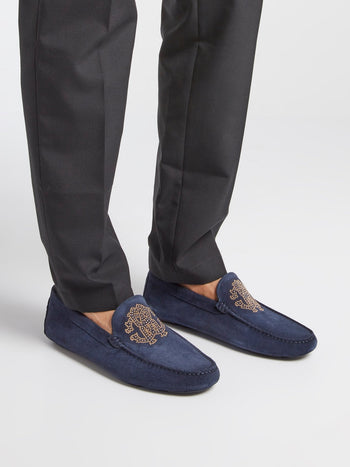 Navy Studded Monogram Suede Loafers