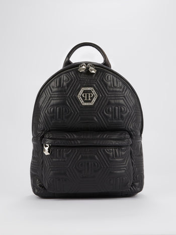 Black Crystal Monogram Leather Backpack
