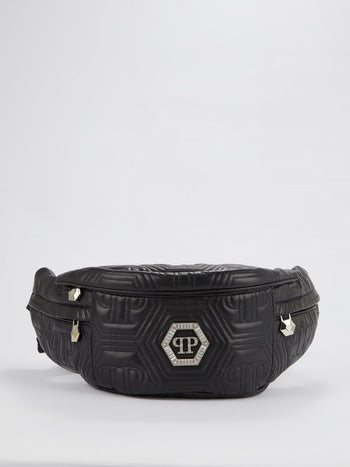 Black Crystal Monogram Leather Belt Bag