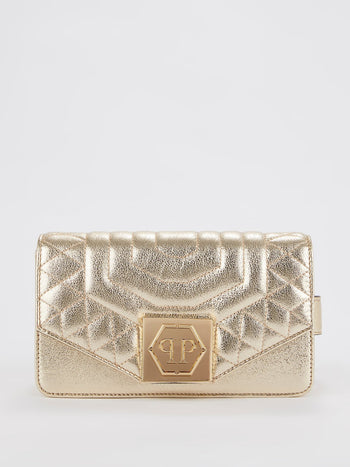 Gold Quilted Flap Belt Bag