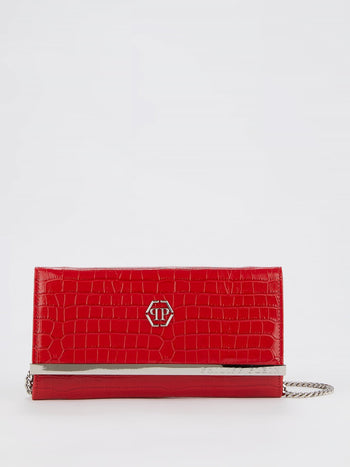 Red Crocodile Effect Clutch Bag