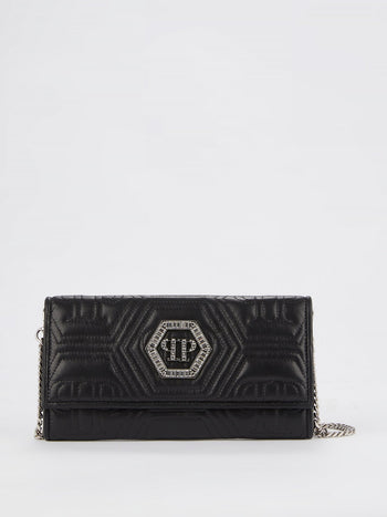 Black Crystal Monogram Clutch Bag