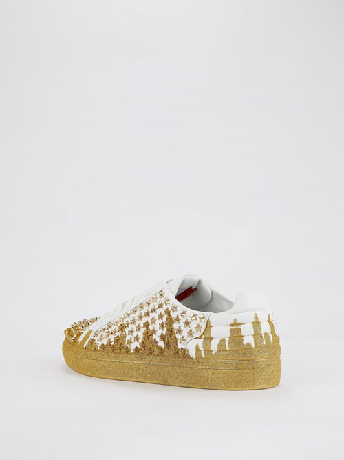 Start Studded Glitter Gold Sneakers
