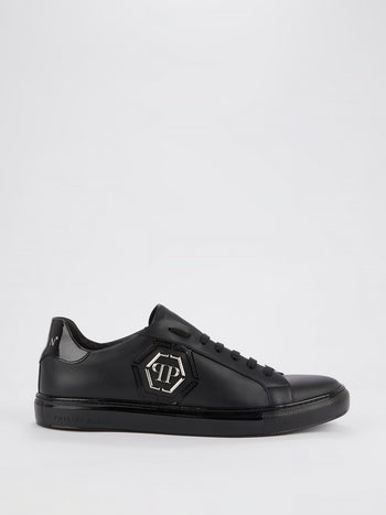 Black Low Top Monogram Sneakers
