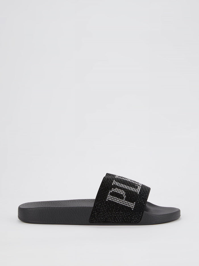 Black Studded Logo Slides