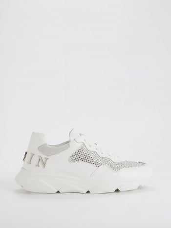White Runner Crystal Logo Sneakers