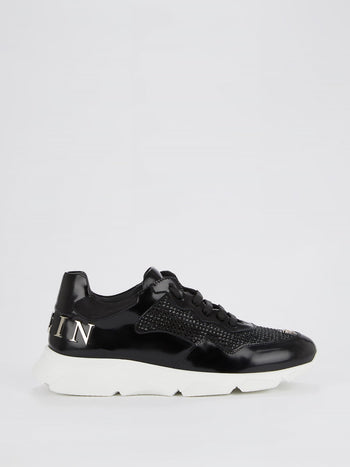 Black Runner Crystal Logo Sneakers