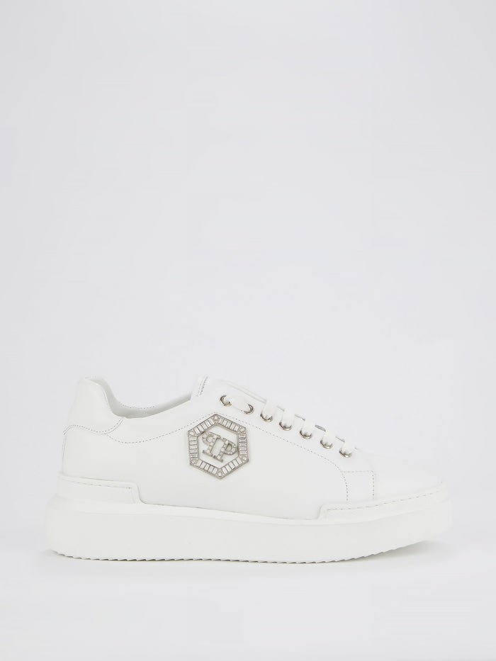 White Crystal Monogram Leather Sneakers