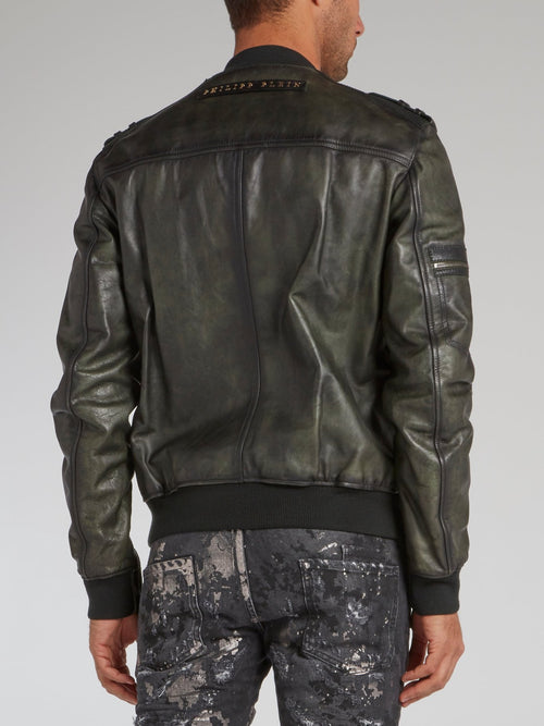Olive Rustic Leather Military Jacket