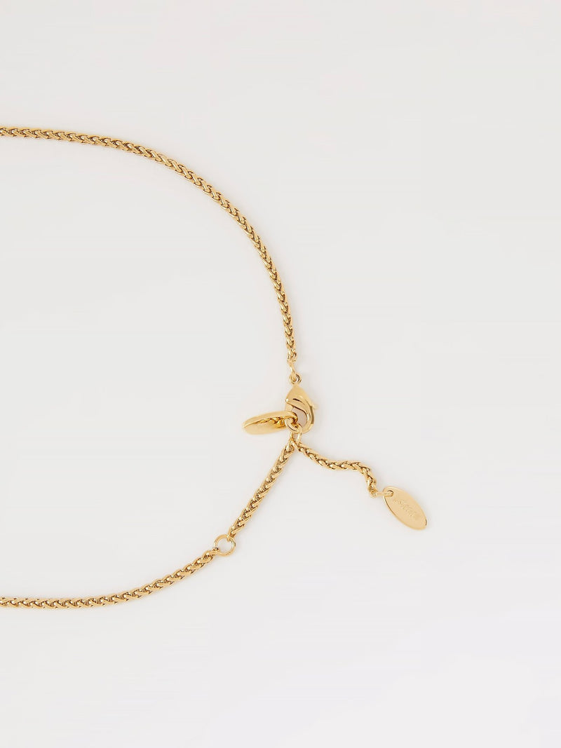 Gold Crystal Studded Monogram Necklace