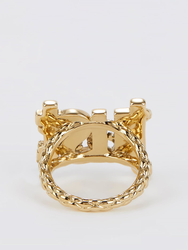 Gold Crystal Studded Monogram Ring - Size 7