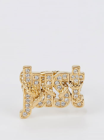 Gold Crystal Studded Monogram Ring - Size 8