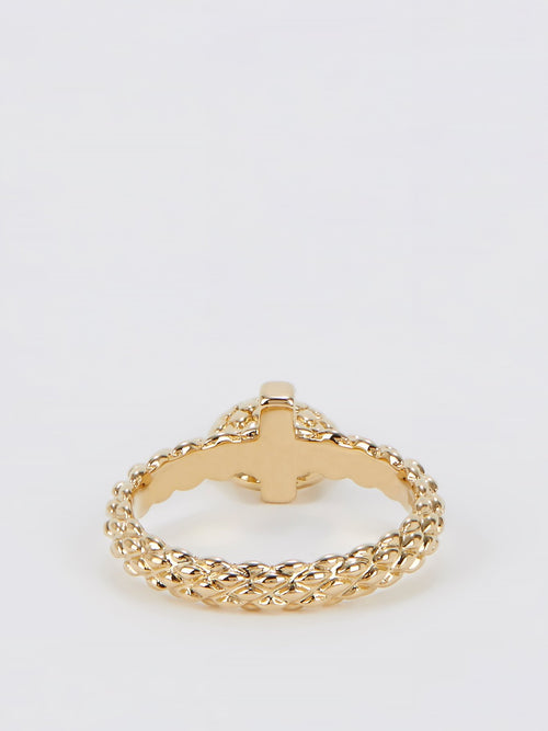 Gold Heart Embellished Ring - Size 7