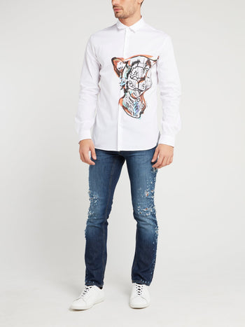 White Tiger Print Shirt