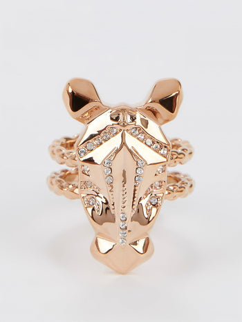 Gold Crystal Studded Cavalli Ring - Size 7