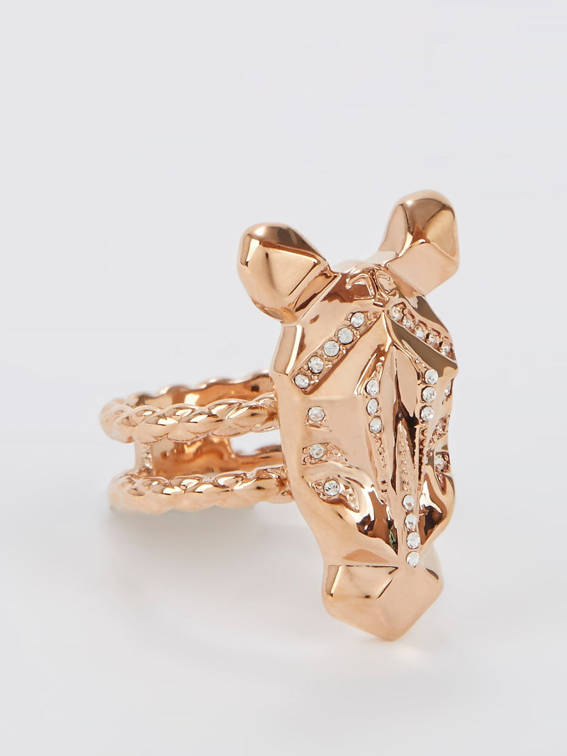 Gold Crystal Studded Cavalli Ring - Size 8
