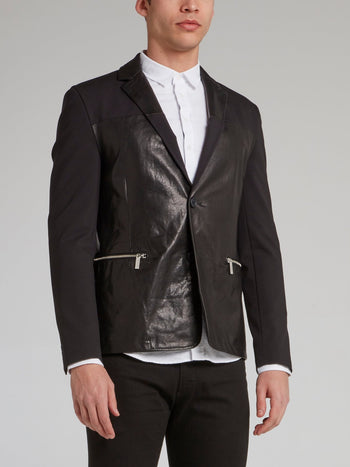 Black Leather Panel Blazer