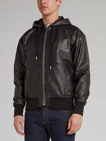 Black Crocodile Effect Hooded Jacket