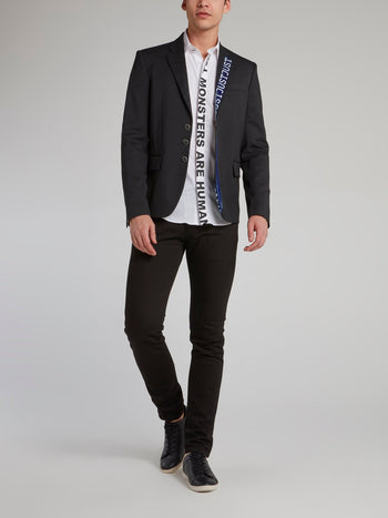 Black Logo Trim Blazer