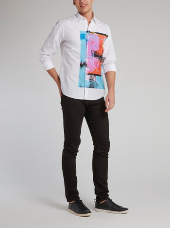 White Abstract Panel Shirt