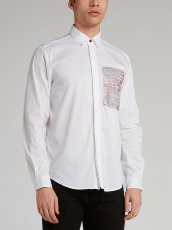 White Multi-Stud Panel Shirt