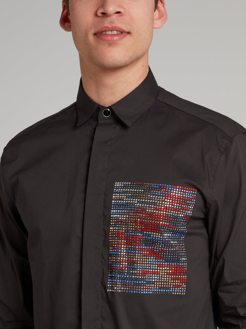 Black Multi-Stud Panel Shirt