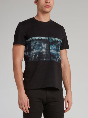 Black Film Strip Print T-Shirt