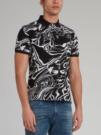 Black Marble Print Polo Shirt