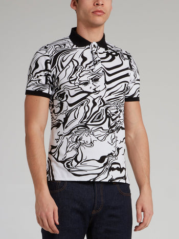 White Marble Print Polo Shirt